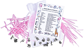 Sterling Silver Baby Shower Charms Meanings Card