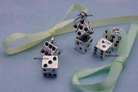 sterling silver dice charms