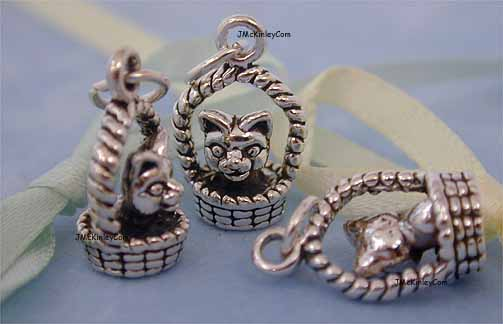 sterling silver kitten charms