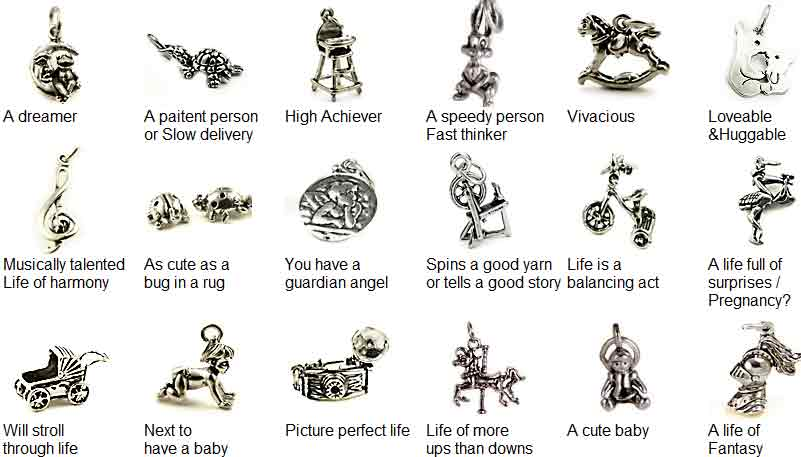 baby shower charms sets sterling silver baby shower