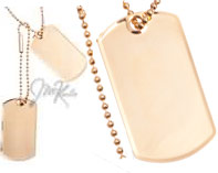 Set of 2 high quality gold plated dog tags  Full size very thick high polish engravabl