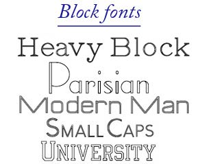 click for block font examples